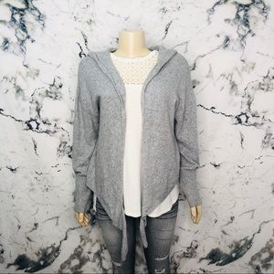 Ruby Moon Open Front Hooded Cardigan Grey
